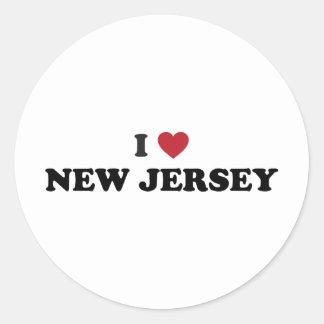 Amo New Jersey Pegatina Redonda