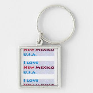 AMO NEW MÉXICO NEW MÉXICO LOS E.E.U.U. AMÉRICA LLAVERO CUADRADO PLATEADO