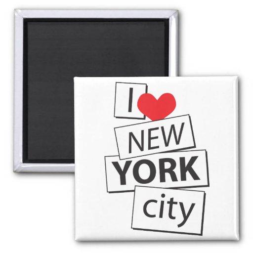 Amo New York City Imán Cuadrado
