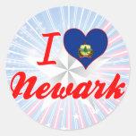 Amo Newark, Vermont Pegatinas Redondas