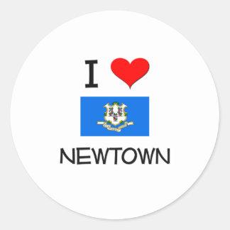 Amo Newtown Connecticut Pegatina Redonda