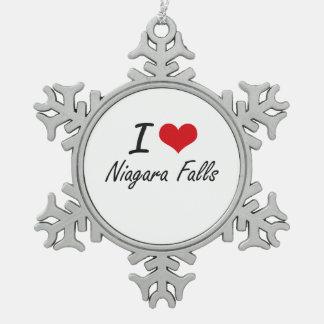 Amo Niagara Falls Adorno De Peltre En Forma De Copo De Nieve