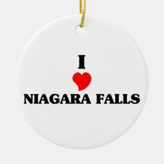 Amo Niagara Falls Adorno Navideño Redondo De Cerámica