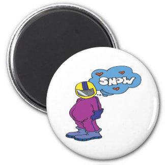 Amo nieve imán redondo 5 cm