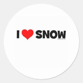 Amo nieve pegatina redonda
