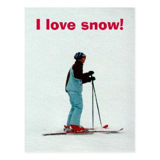 Amo nieve tarjeta postal
