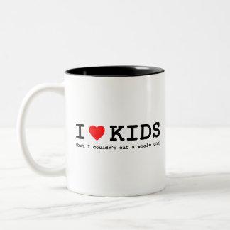 Amo niños (solamente me no podría comer entero) taza de dos tonos
