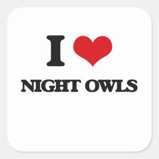 Amo noctámbulos pegatina cuadradas personalizadas
