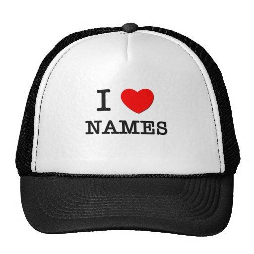 Amo nombres gorras