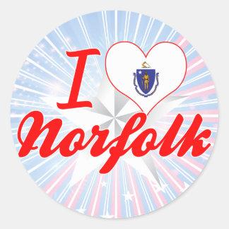 Amo Norfolk, Massachusetts Pegatina Redonda