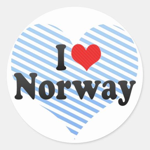 Amo Noruega Etiqueta Redonda