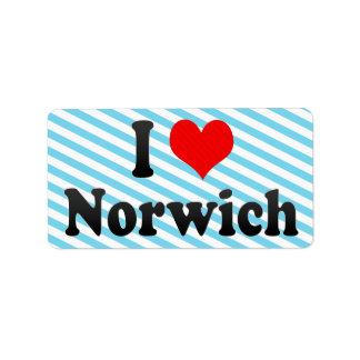 Amo Norwich, Reino Unido Etiqueta De Dirección