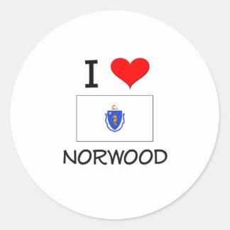 Amo Norwood Massachusetts Pegatina Redonda