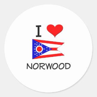Amo Norwood Ohio Pegatina Redonda
