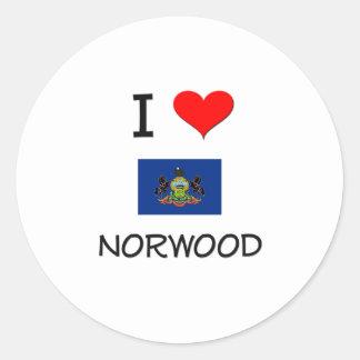 Amo Norwood Pennsylvania Pegatina Redonda