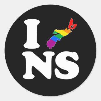 AMO NUEVA ESCOCIA GAY - BLANCO - .PNG PEGATINAS REDONDAS