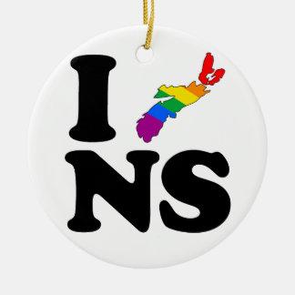 AMO NUEVA ESCOCIA GAY - .PNG ADORNO NAVIDEÑO REDONDO DE CERÁMICA