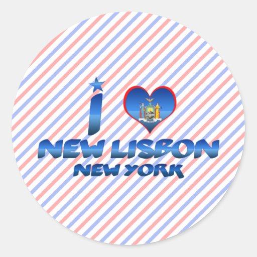 Amo nueva Lisboa, Nueva York Pegatina Redonda