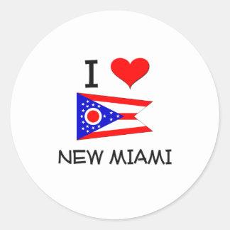 Amo nueva Miami Ohio Pegatina Redonda