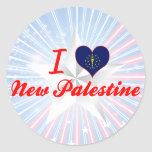 Amo nueva Palestina, Indiana Etiquetas Redondas