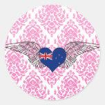 Amo Nueva Zelanda - alas Pegatina Redonda