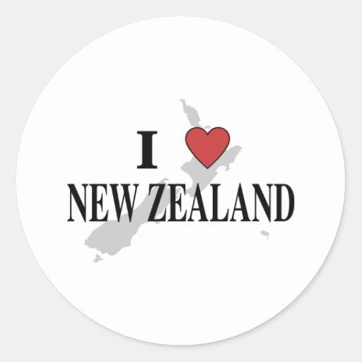 Amo Nueva Zelanda Pegatina Redonda