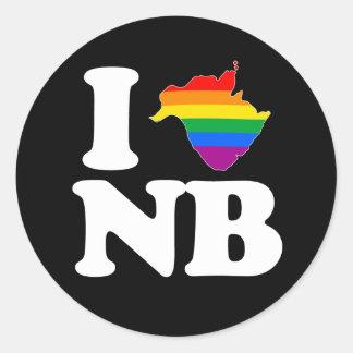AMO NUEVO BRUNSWICK GAY - BLANCO - .PNG PEGATINA REDONDA