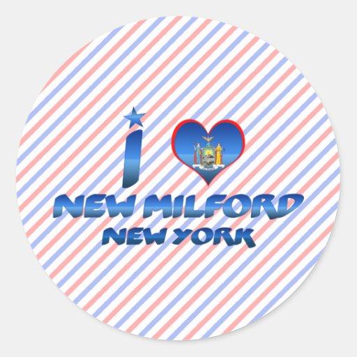 Amo nuevo Milford, Nueva York Pegatina Redonda
