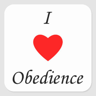 Amo obediencia pegatina cuadrada