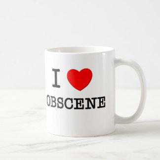 Amo obsceno taza básica blanca
