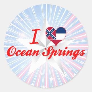 Amo Ocean Springs, Mississippi Pegatina Redonda