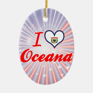 Amo Oceana, Virginia Occidental Adorno Ovalado De Cerámica