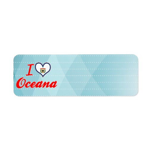 Amo Oceana, Virginia Occidental Etiquetas De Remite