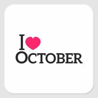 Amo octubre pegatina cuadrada