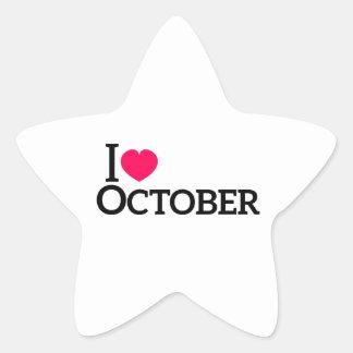 Amo octubre pegatina en forma de estrella