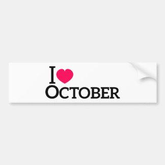 Amo octubre pegatina para auto