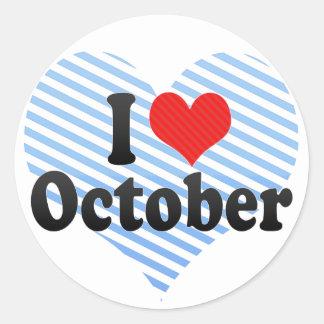 Amo octubre pegatina redonda