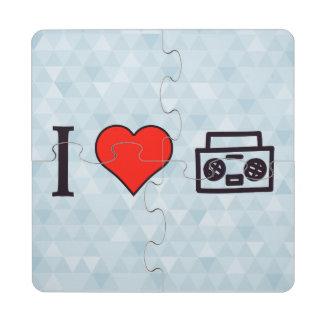 Amo oír música posavasos de puzzle