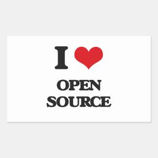 Amo Open Source Pegatina Rectangular