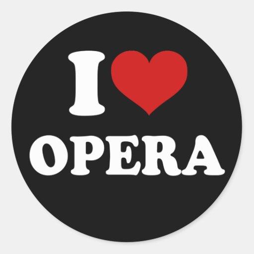 Amo ópera pegatina redonda
