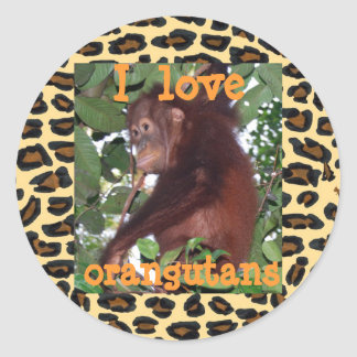 Amo orangutanes pegatinas redondas