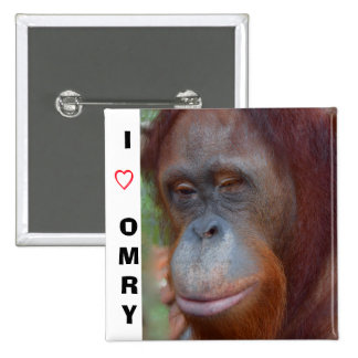 Amo orangutanes pin cuadrado