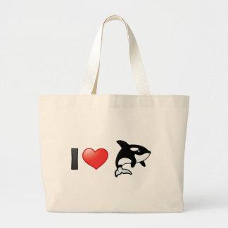 Amo orcas bolsa de tela grande