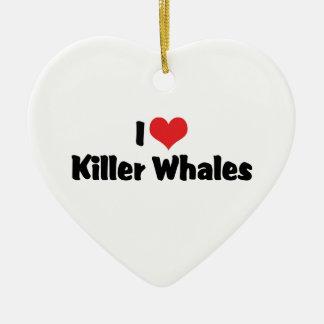 Amo orcas del corazón adorno navideño de cerámica en forma de corazón