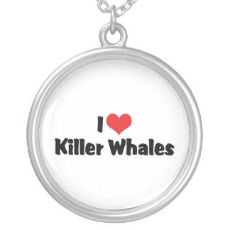 Amo orcas del corazón collar plateado