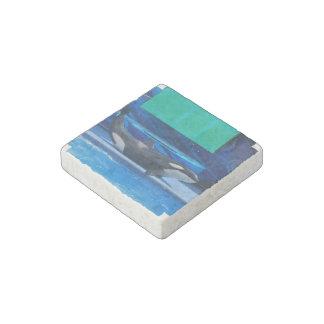 Amo orcas imán de piedra