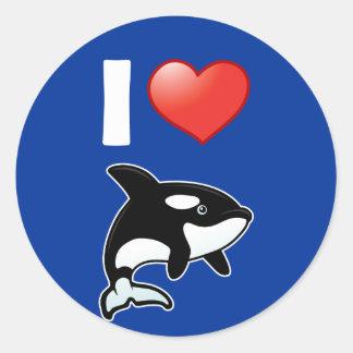 Amo orcas pegatina redonda