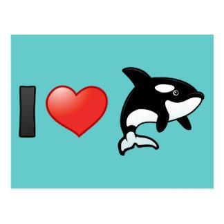 Amo orcas tarjetas postales