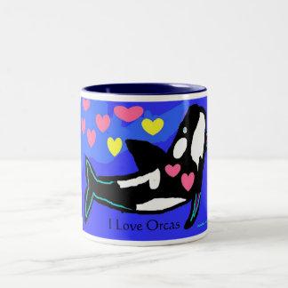 Amo orcas, yo amo orcas taza de café de dos colores