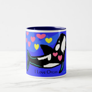 Amo orcas, yo amo orcas taza de dos tonos